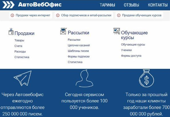 «CRM АвтоВебОфис» прием платежей, email-рассылки и работа с клиентами для интернет бизнеса